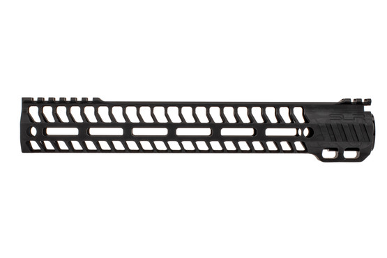 "SLR Rifleworks M-LOK HELIX rail is 12.5"" for AR15 with black anodized finish and interrupted top rail"