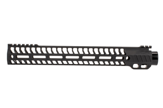 "SLR Rifleworks M-LOK HELIX rail is 13.7"" for AR15 with black anodized finish and interrupted top rail"
