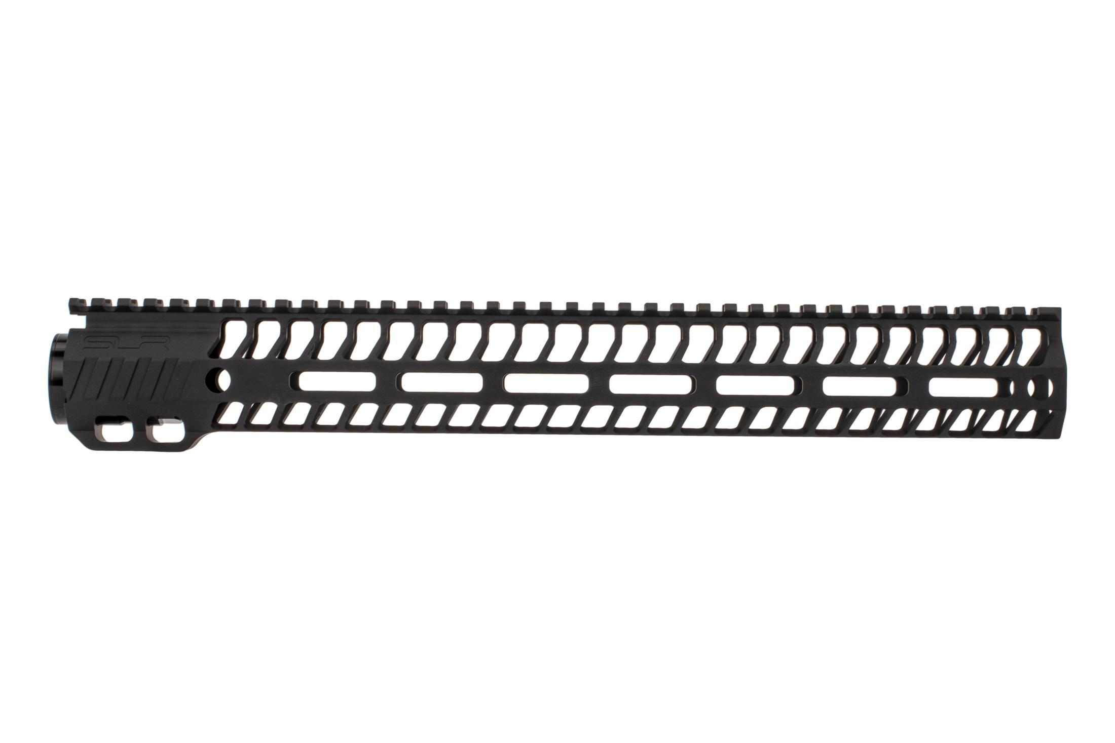SLR Rifleworks 14.87 HELIX AR-15 handguard with full length top rail features M-LOK on four sides and a black finish