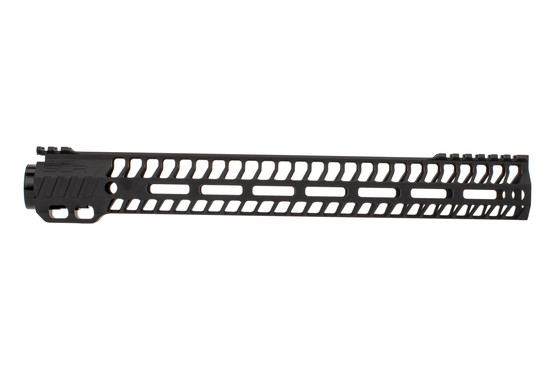 "SLR Rifleworks 14.87"" HELIX AR-15 handguard with interrupted top rail features M-LOK on four sides and a black finish"
