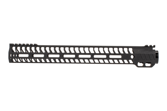 "SLR Rifleworks M-LOK HELIX rail is 14.87"" for AR15 with black anodized finish and interrupted top rail"