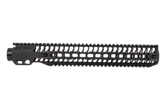 "SLR Rifleworks 14.87"" HELIX AR-15 handguard with full length top rail features picatinny on four sides and a black finish"