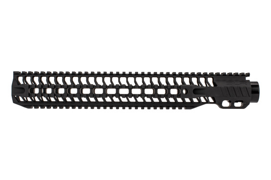 "SLR Rifleworks Quad rail HELIX handguard is 14.87"" for AR15 with black anodized finish and full length top rail"