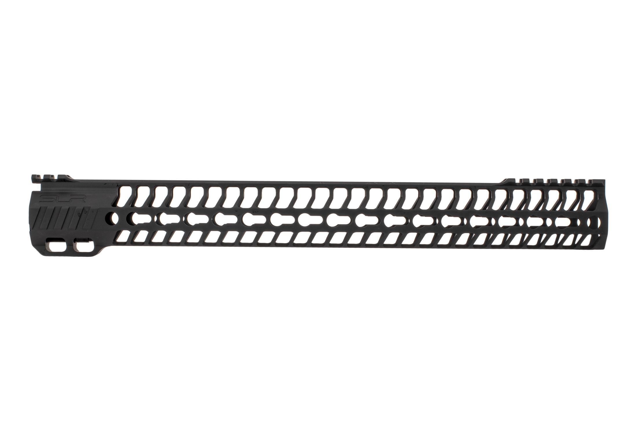 SLR Rifleworks 16.0 HELIX AR-15 handguard with interrupted top rail features M-LOK on four sides and a black finish