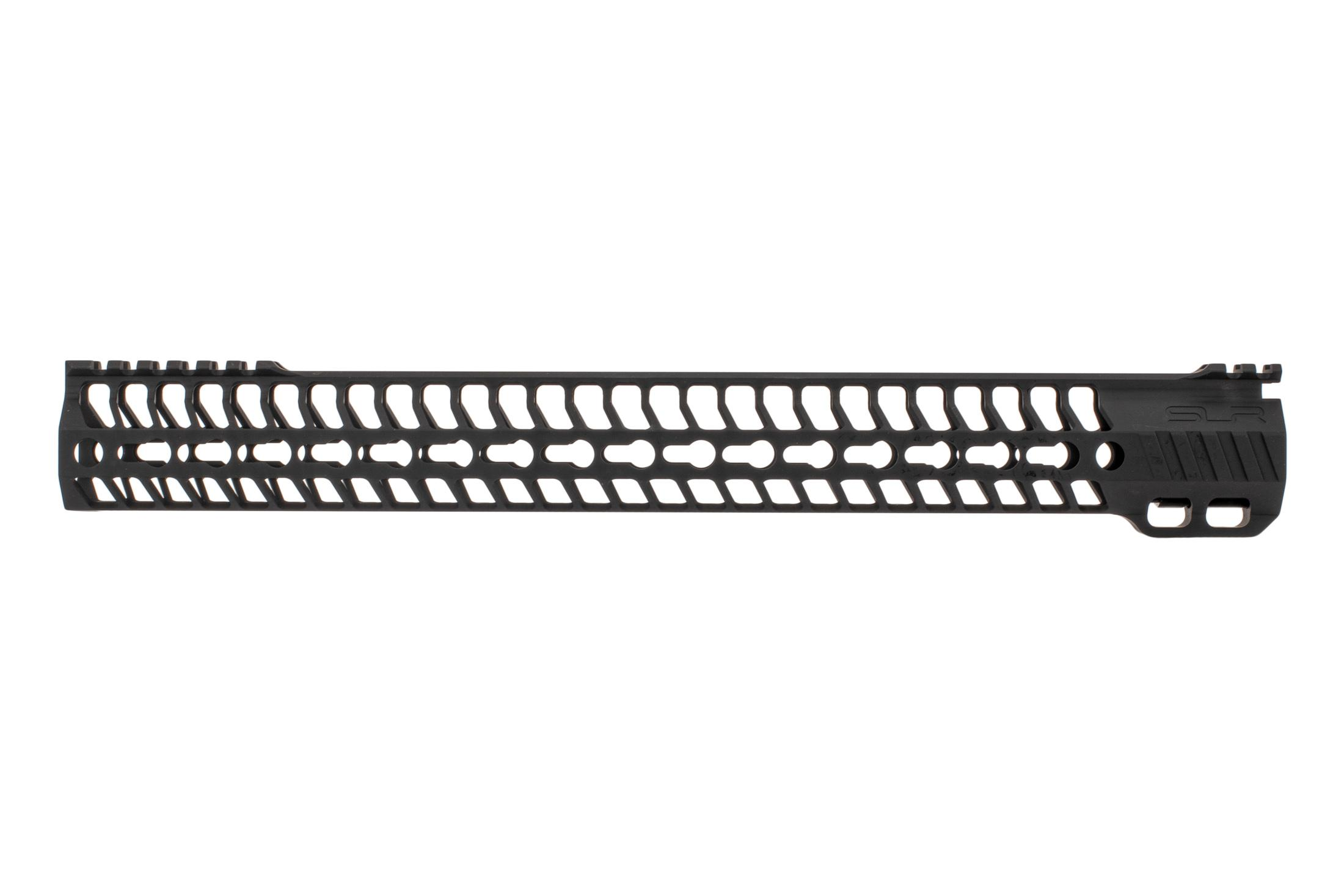 SLR Rifleworks M-LOK HELIX rail is 16.0 for AR15 with black anodized finish and interrupted top rail