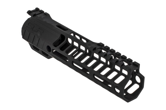 "SLR Rifleworks HELIX series 7.75"" M-LOK rail for the AR-15 with interrupted top rail with black anodized finish."