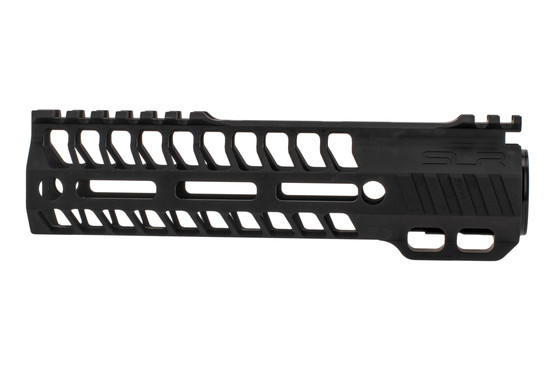 "SLR Rifleworks M-LOK HELIX rail is 7.75"" for AR15 with black anodized finish and interrupted top rail"