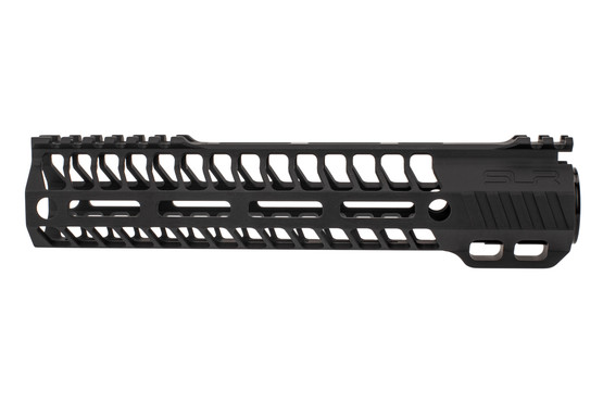 "SLR Rifleworks M-LOK HELIX rail is 9.5"" for AR15 with black anodized finish and interrupted top rail"