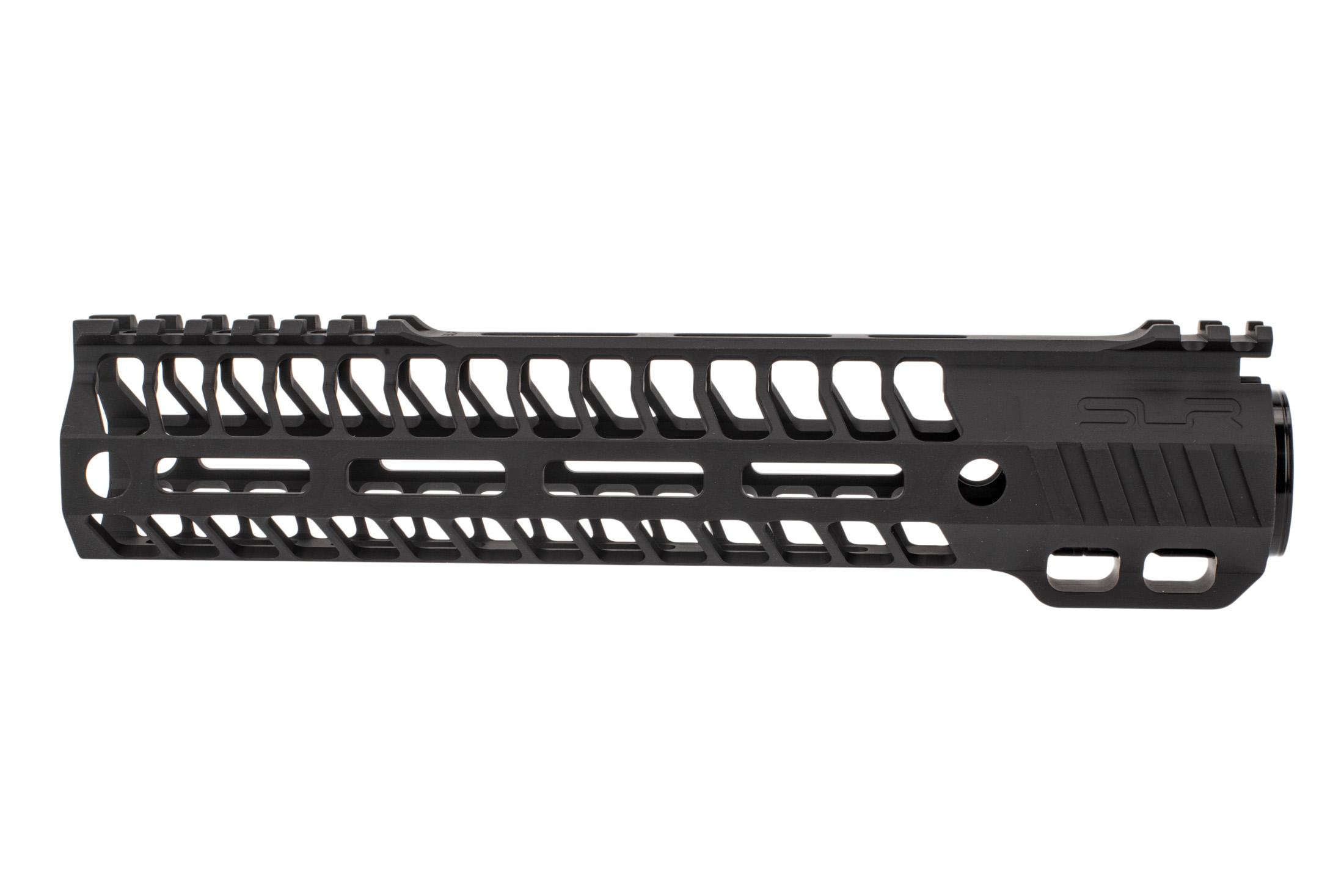 SLR Rifleworks M-LOK HELIX rail is 9.7 for AR15 with black anodized finish and full length top rail
