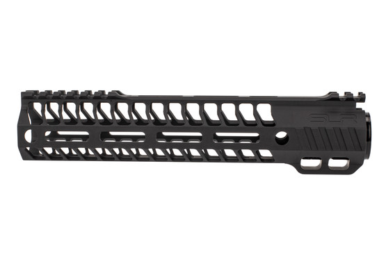 "SLR Rifleworks M-LOK HELIX rail is 9.7"" for AR15 with black anodized finish and full length top rail"