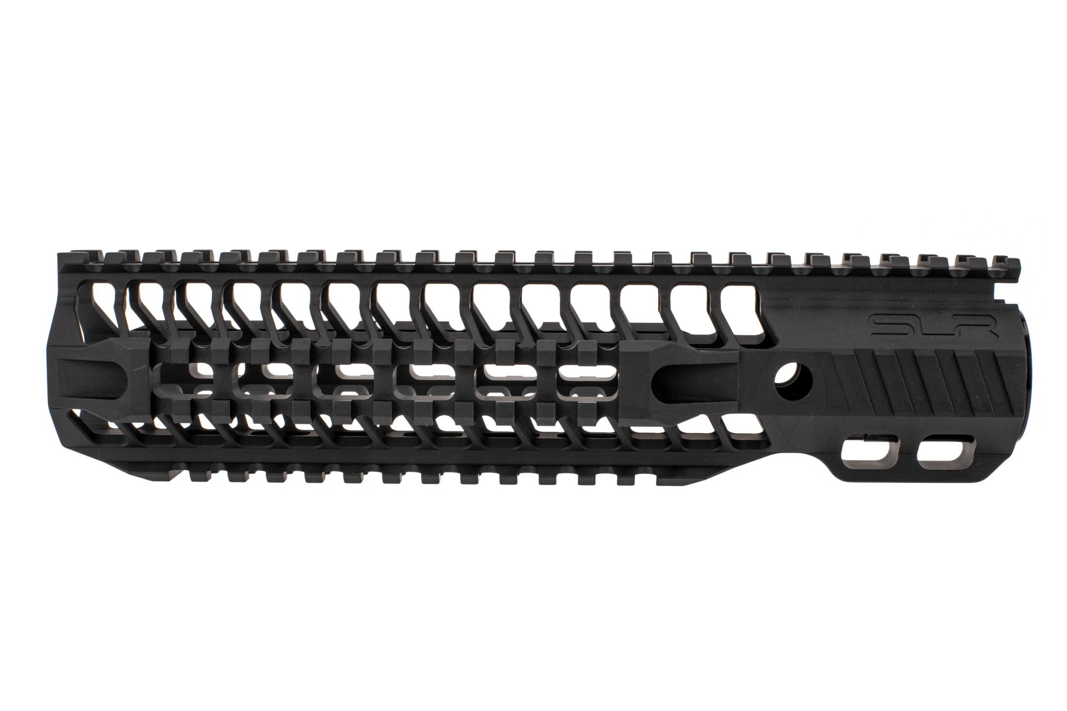 SLR Rifleworks Quad rail HELIX handguard is 9.7 for AR15 with black anodized finish and full length top rail