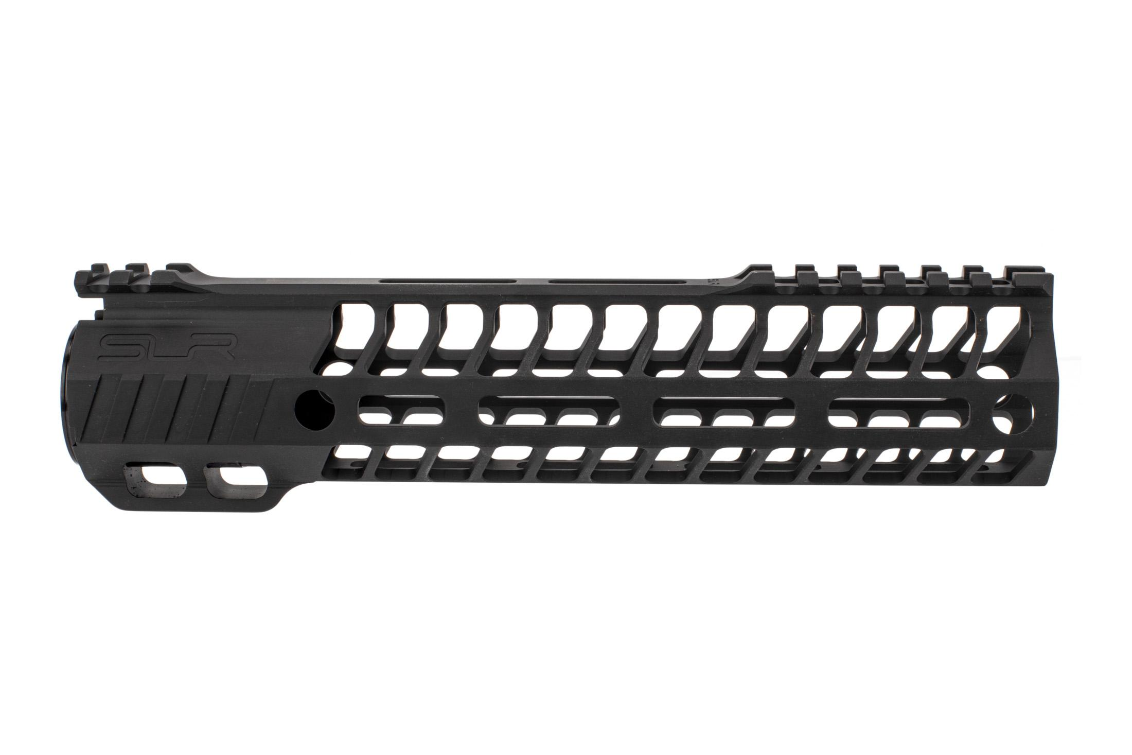 SLR Rifleworks 9.0 HELIX AR-15 handguard with interrupted top rail features M-LOK on four sides and a black finish