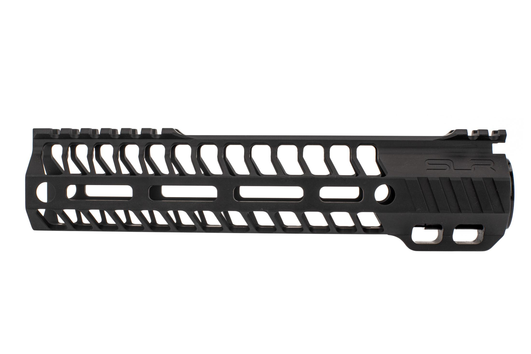 SLR Rifleworks M-LOK HELIX rail is 9.0 for AR15 with black anodized finish and interrupted top rail
