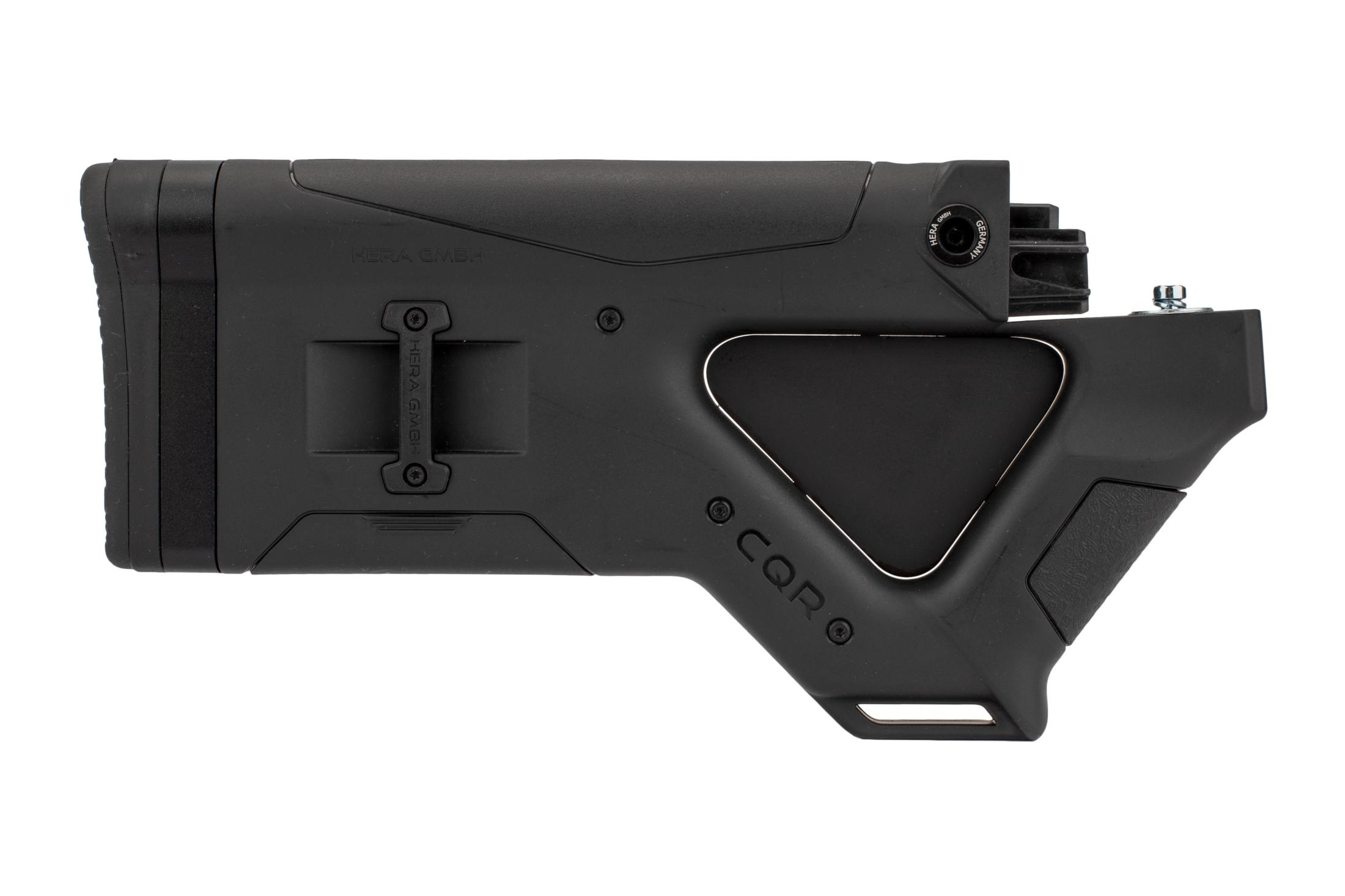 The Hera Arms AK47 CQR featureless stock is made from black polymer with an aluminum insert