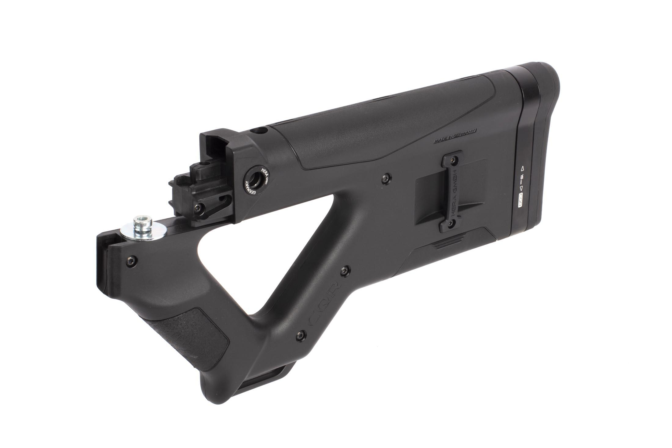 Hera Arms AK-47 CQR stock in sleek black has an integral pistol grip with comfortable raked angle for enhanced weapon control
