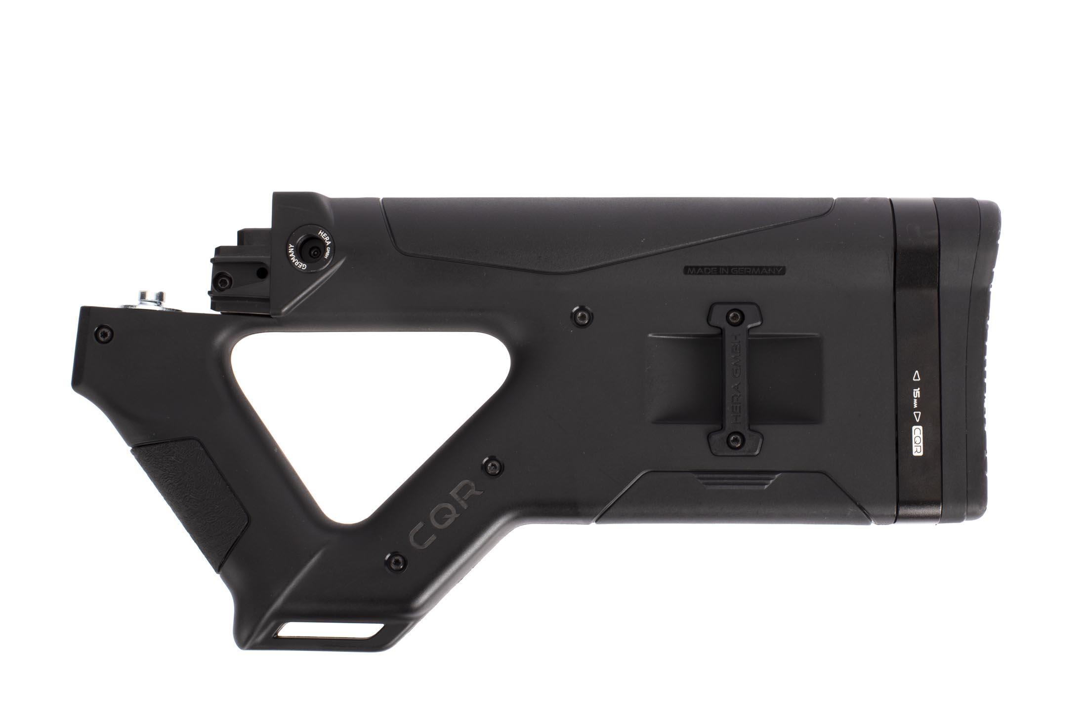 Hera Arms black CQR AK stock is completely ambidextrous with mirrored sling attachment points and symettrical grip