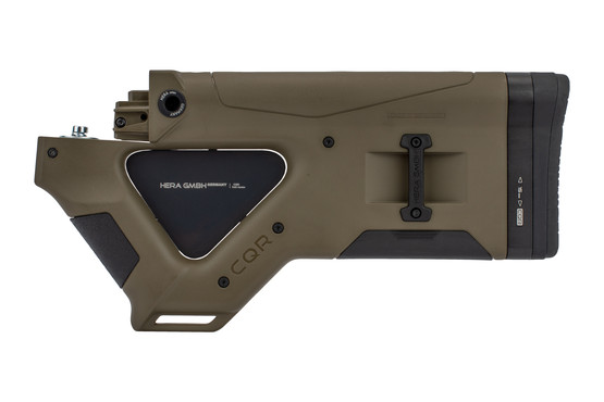 The Hera Arms CQR AK featureless stock Olive Drab Green comes with an aluminum thumbhole insert