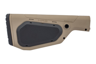 The Hera Arms HRS fixed A2 buttstock is made from a durable tan polymer with black covers