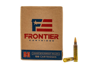 Hornady Frontier 556 hollow point match ammo comes in a box of 150 rounds