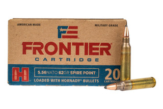 Hornady Frontier 5.56 NATO ammo loaded with 62 grain soft point bullets in 20-round boxes.