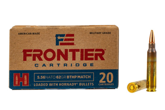 Hornady Frontier 556 Boat Tail Hollow Point Match ammo features a 62 grain bullet