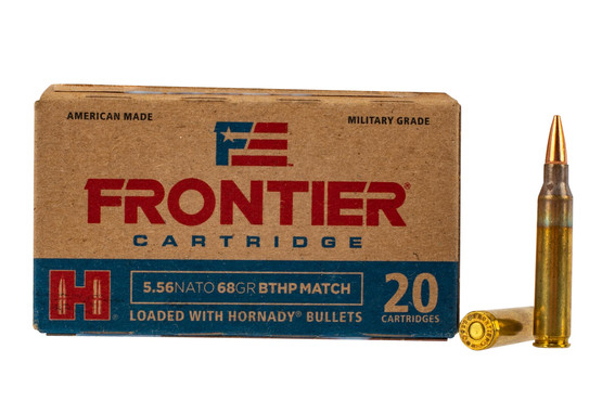 Hornady Frontier 556 hollow point boat tail ammo features a 68 grain bullet