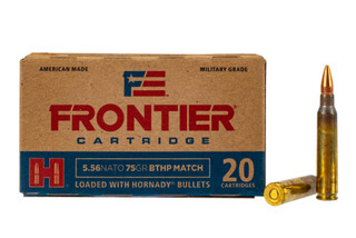 Hornady Frontier 556 75 grain boat tail hollow point match ammunition comes in a box of 20 rounds