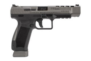 Canik TP9 SFx 9mm pistol features a tungsten grey Cerakote finish