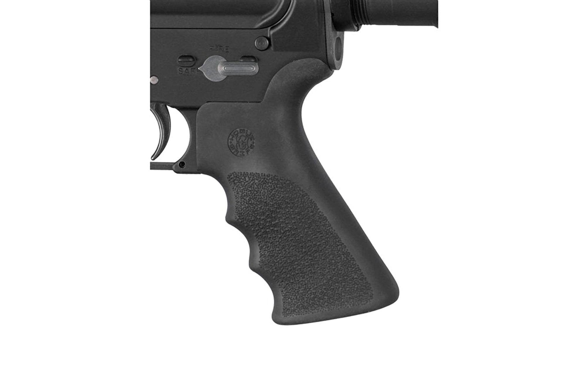Hogue AR-15 OverMolded Pistol Grip - Beaver Tail - Finger Grooves - Black