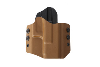 HSGI's coyote brown OWB Holster securely holds your compact Glock pistol, perfect for right handed draw