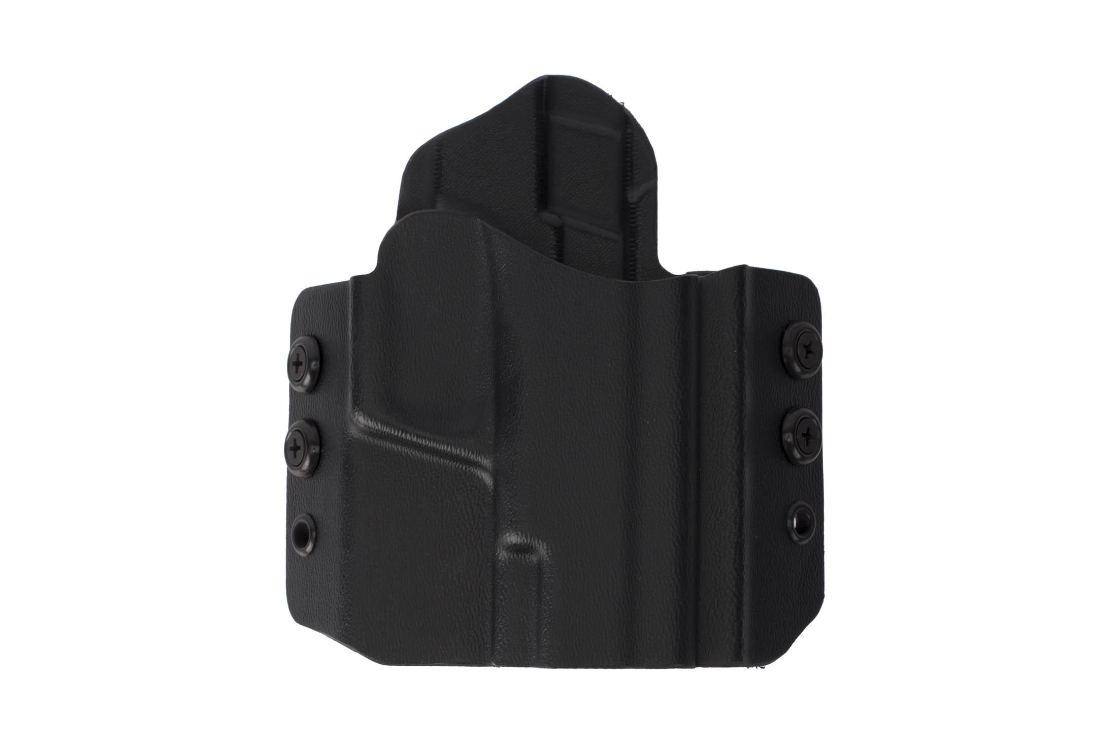 HSGI's black OWB Holster securely holds your compact Smith & Wesson pistol, perfect for right handed draw