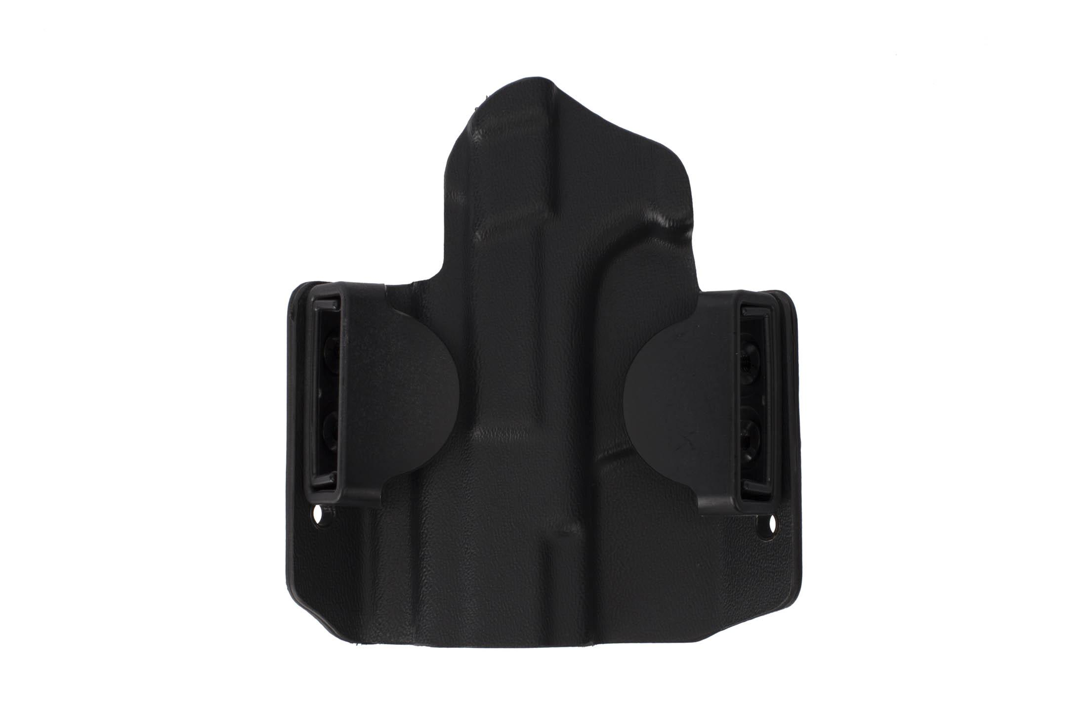HSGI's outside the waistband black gun holster for compact Smith & Wesson handguns can configured for 1.5in or 1.75in belts