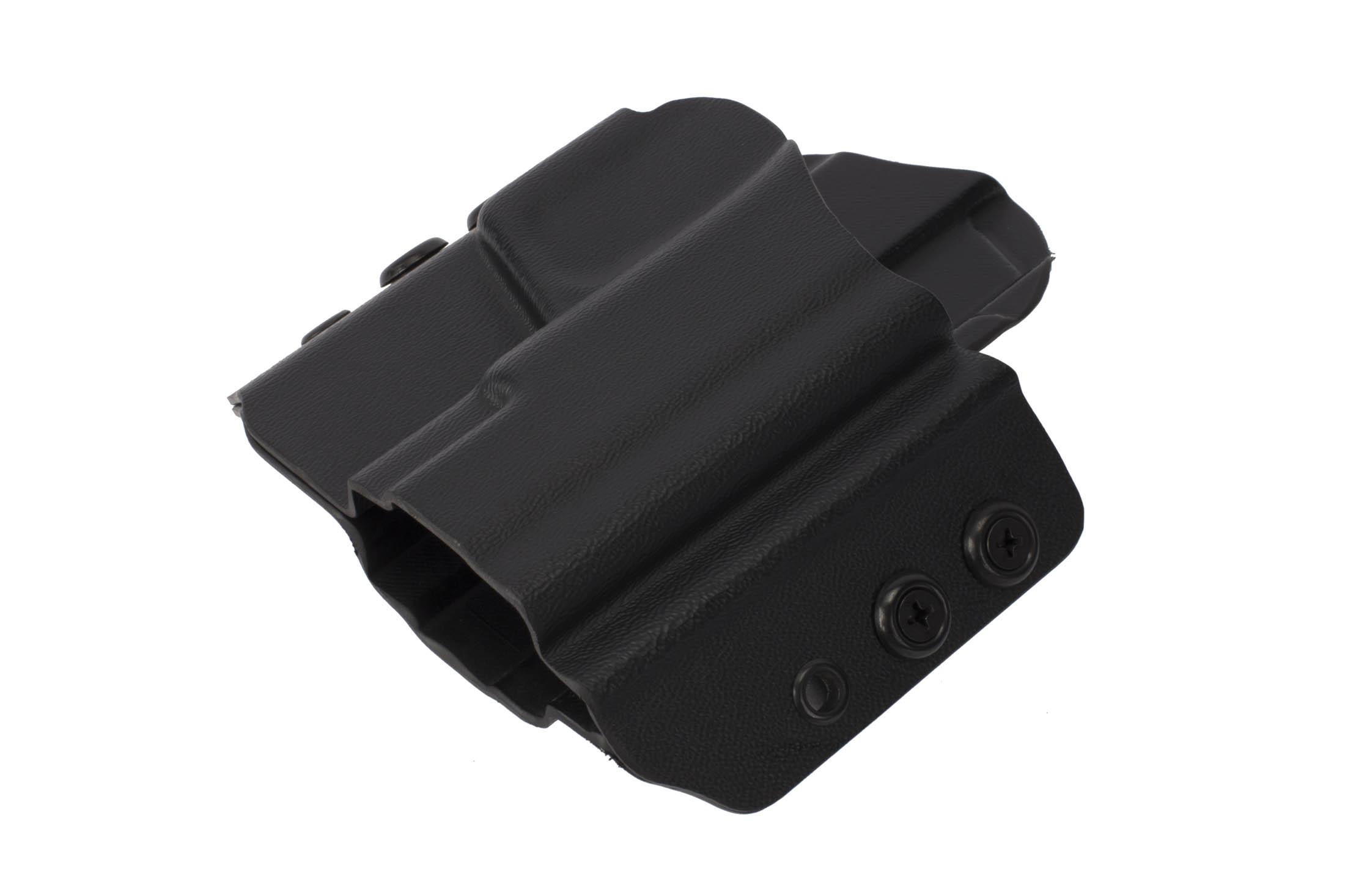 High Speed Gear's black kydex holster has a low profile design allowing for on belt concealement with a cover garment