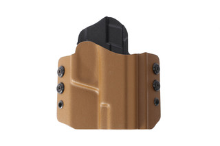 HSGI's coyote brown OWB Holster securely holds your compact SIG Sauer pistol, perfect for right handed draw