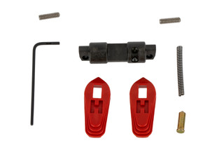 Th HIPERFIRE Hiperswitch ambidextrous AR15 safety selector comes with two red polymer levers