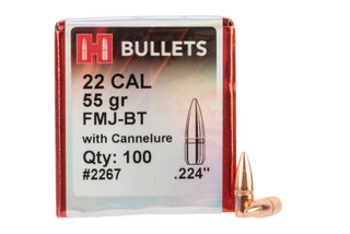 Hornady Full Metal Jacket Boat Tail 22 Caliber 55 grain bullets are designed for accuracy and reliability