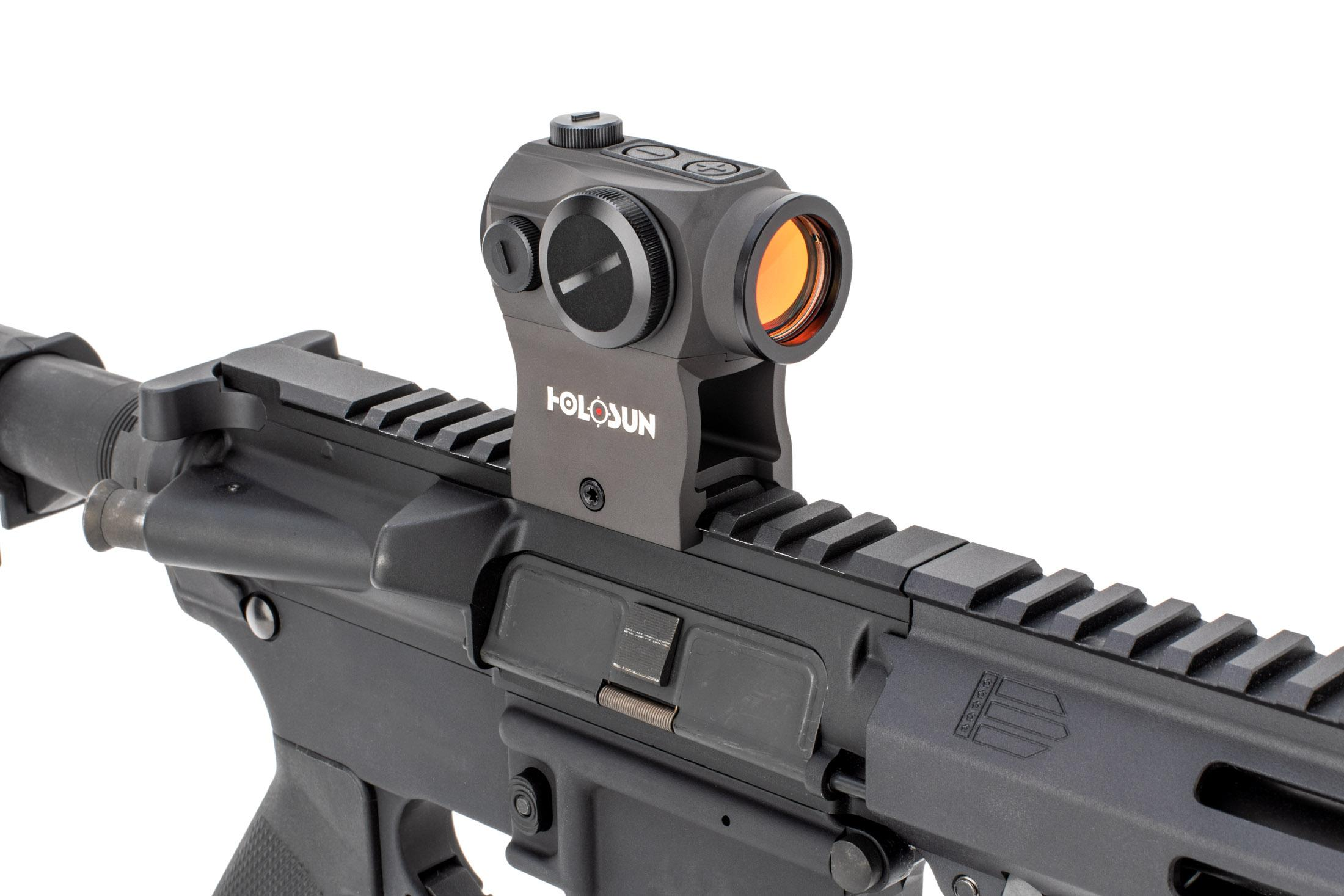 The holosun advanced micro dot sight has an illuminated cqb acss reticle