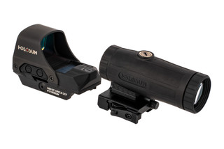 Holosun HS10C reflex red dot sight with HM3X magnifier in flip-to-side mount