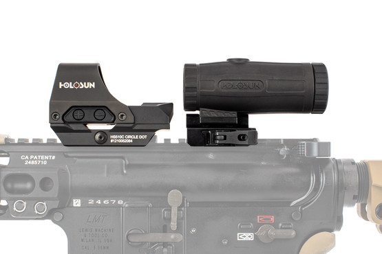 Holosun HS10C red dot with 3X magnifier combo fits perfectly on standard AR-15 upper receivers.