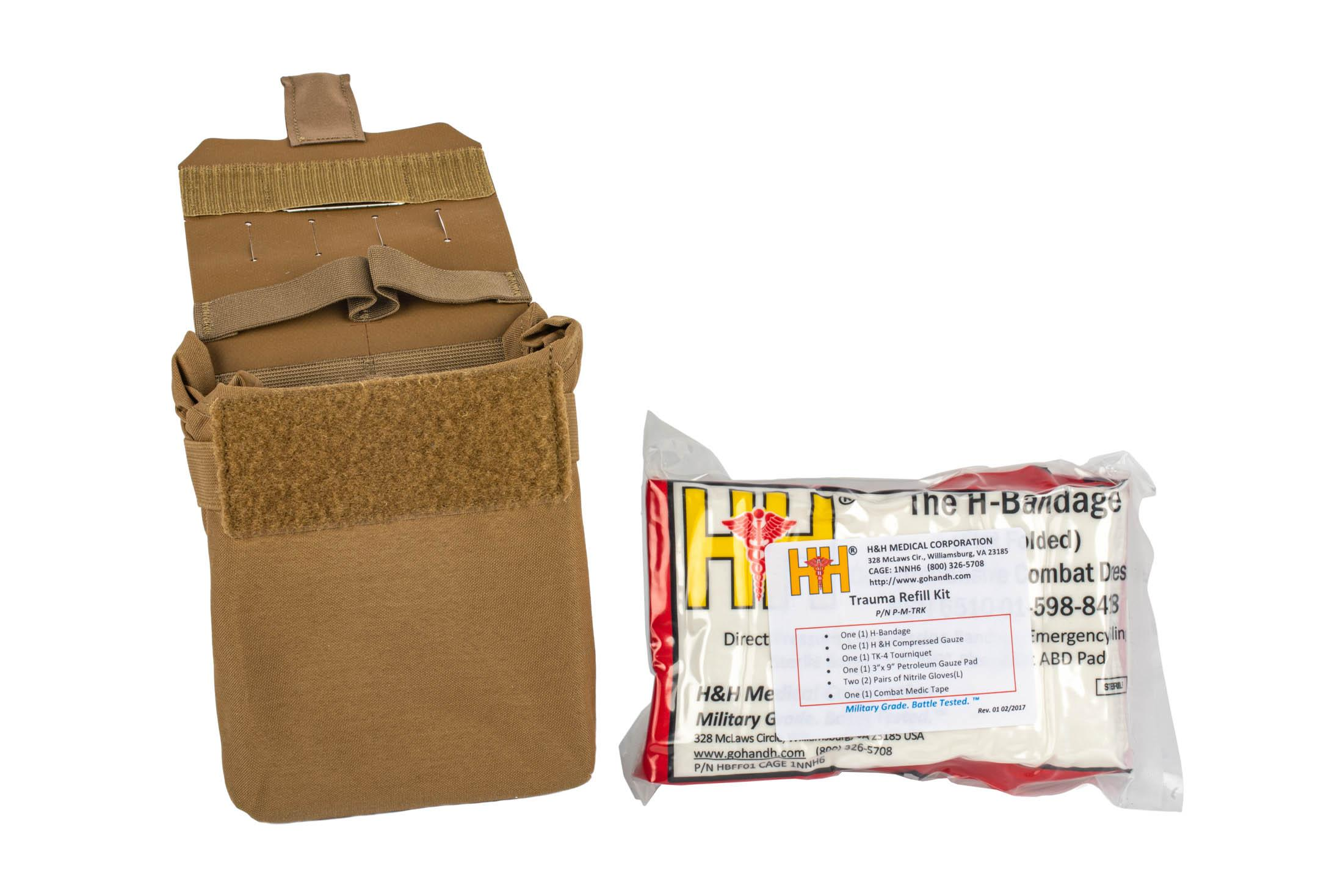 The Blue Force Gear Coyote Brown Trauma Kit Now Filled comes with the refill pack of medical supplies