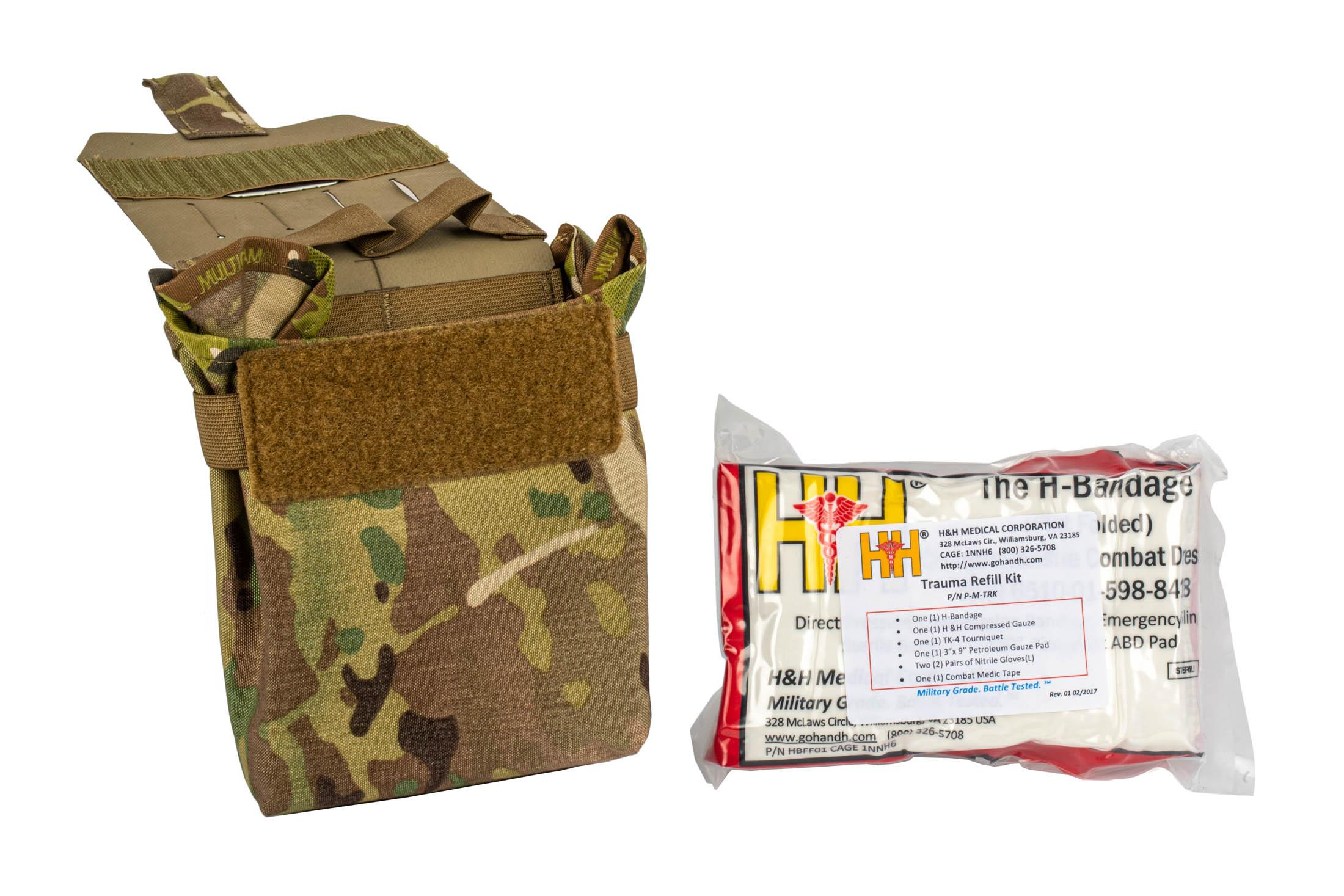 The Blue Force Gear Trauma Kit Now Multicam filled uses the Helium Whisper attachment system