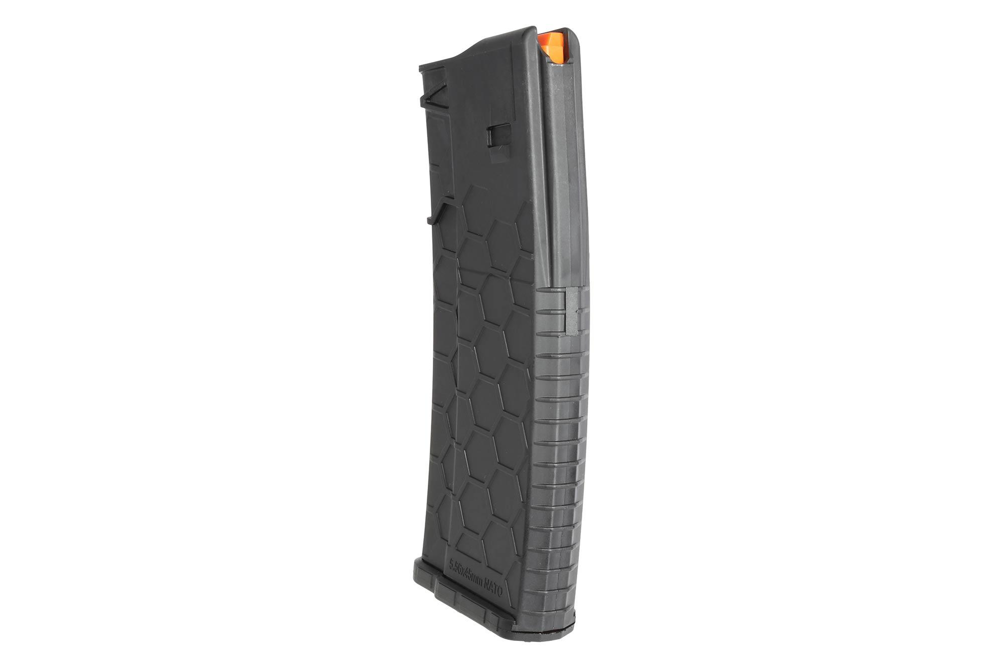 The Hexmag 10/30 5.56 NATO AR-15 magazine features an aggressive texture for a no slip grip