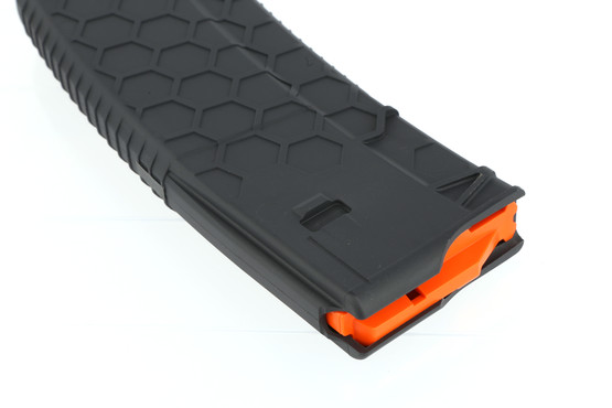The Hexmag 15 round AR15 magazine features an aggressive texture for a no slip grip