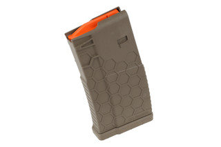 The Hexmag 20 round .308 magazine in flat dark earth is made from reinforced polymer
