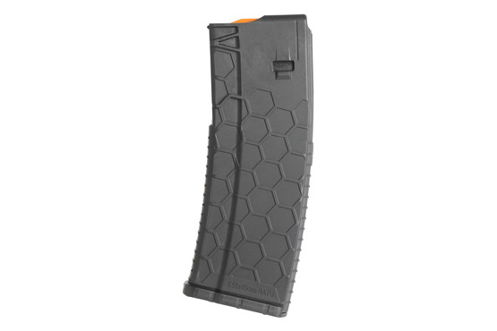 The hexmag AR15 magazine features a textured polymer construction
