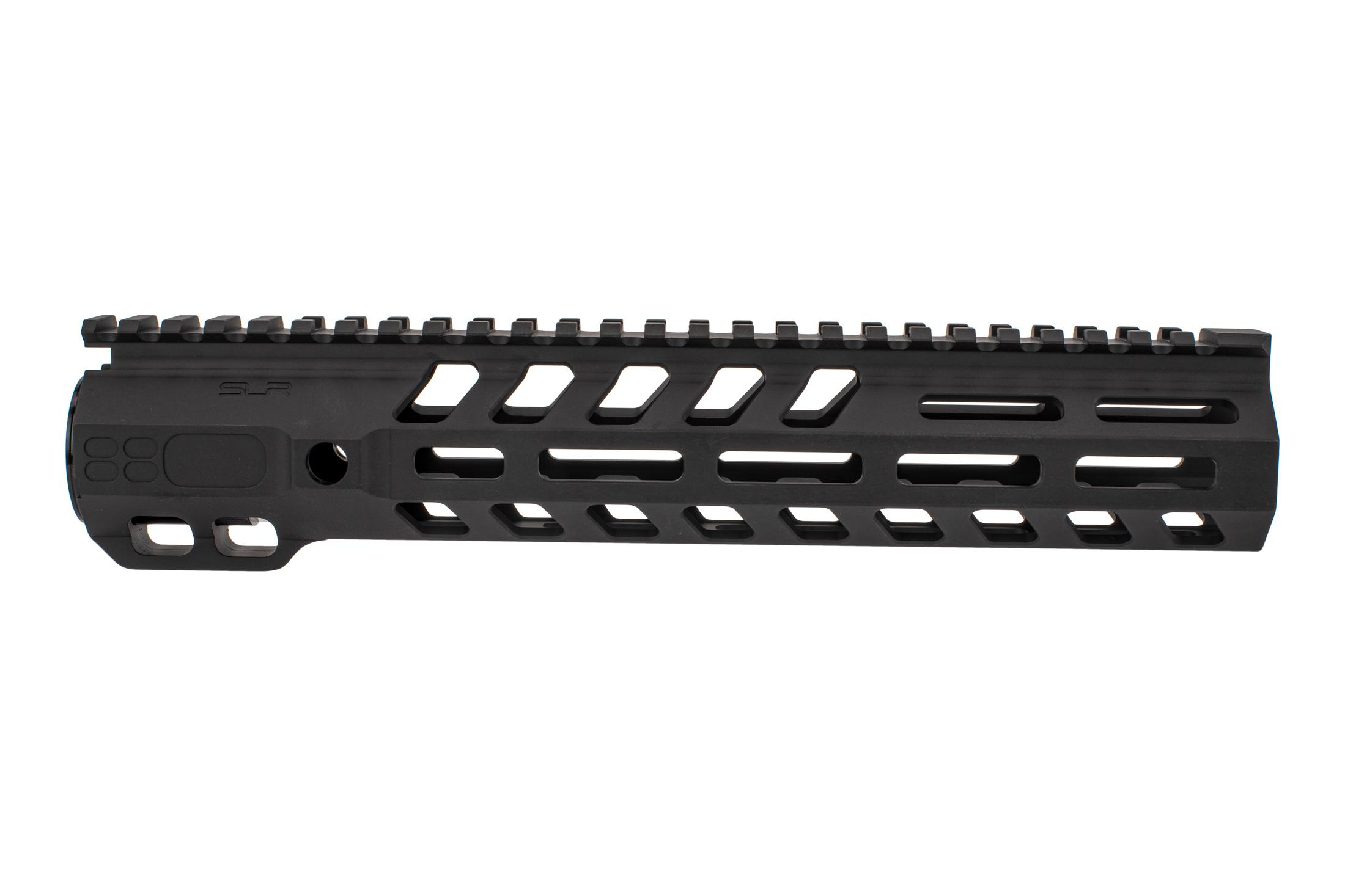 SLR Rifleworks 10.7 Ion HDX AR-15 handguard with full length top rail features M-LOK on four sides and a black finish