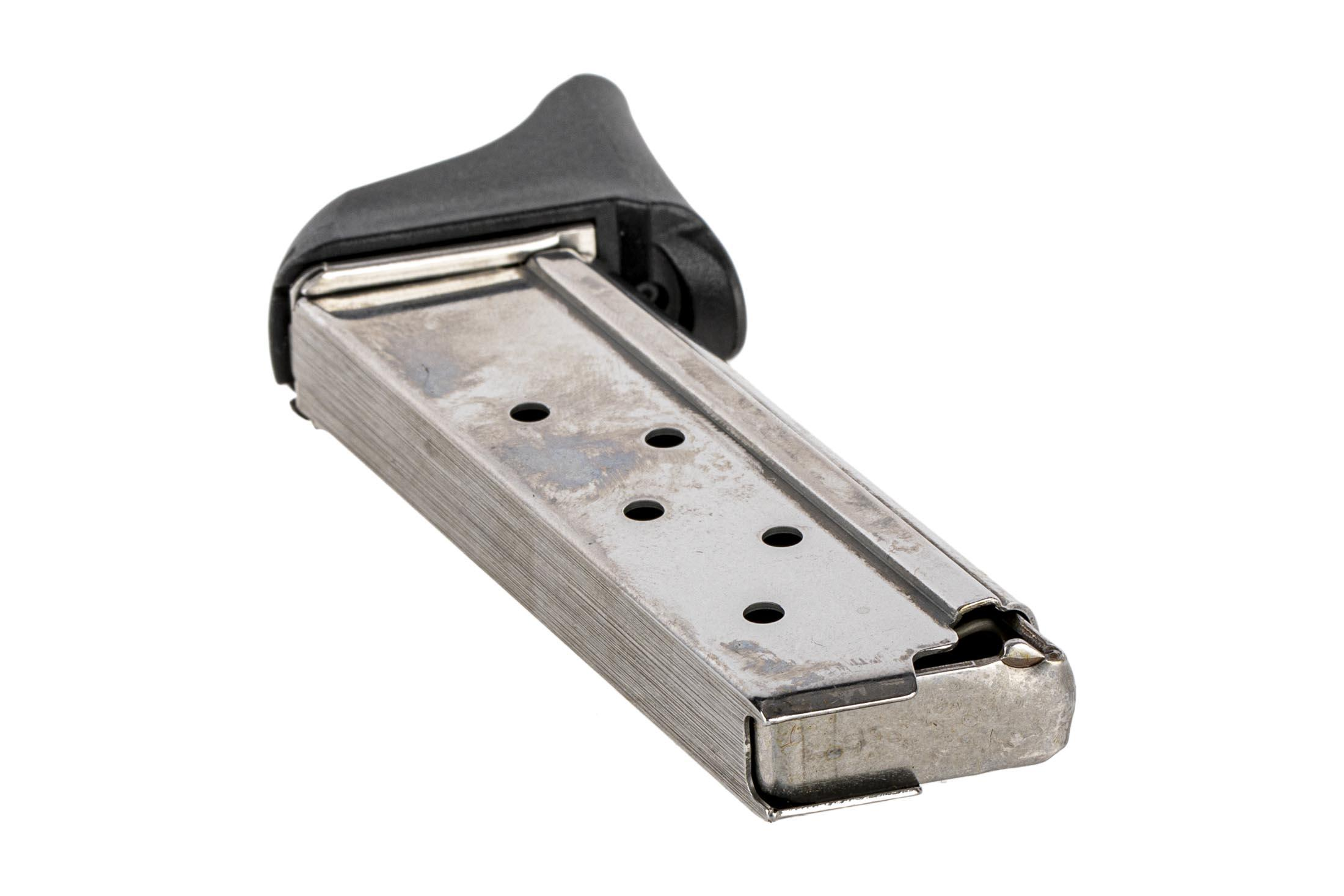 The Beretta Pico 6 round magazine with finger extension is made from stainless steel
