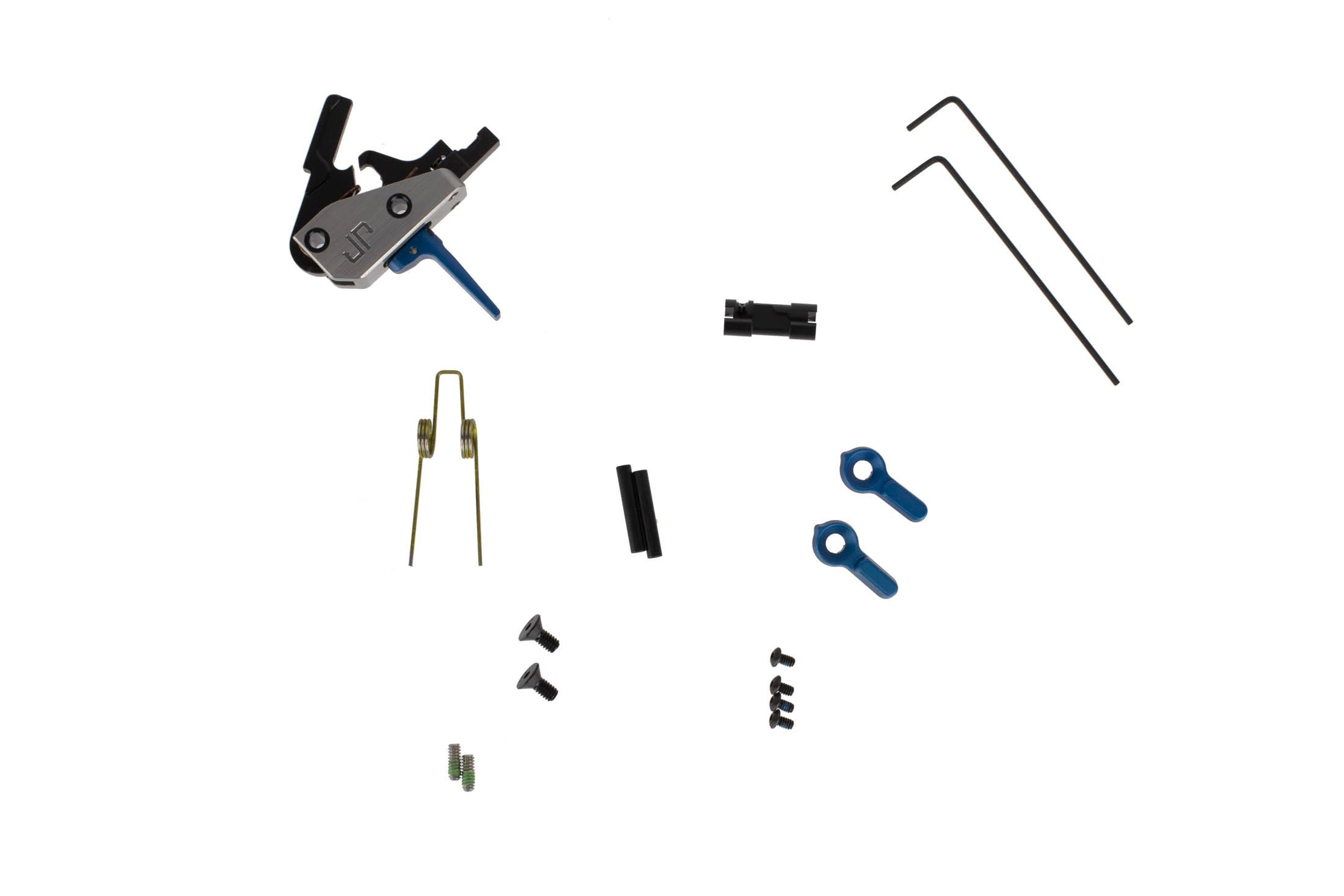 JP Enterprise JPFC-MF drop-in AR-15 trigger blue includes anti-walk pins, ambi-safety, alternate spring, and tools.