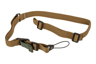 Blue Force Gear Vickers Standard AK sling in Coyote with the molded Universal Wire Loop for quiet and secure installation.
