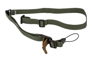 Blue Force Gear Vickers Standard AK sling in olive drab with the molded Universal Wire Loop for quiet and secure installation.